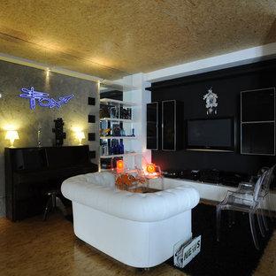 Idee per un soggiorno design aperto con sala della musica, pareti multicolore e TV a parete