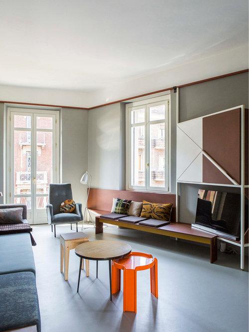 Foto e idee per living living moderno con pareti grigie - Pareti grigie soggiorno ...