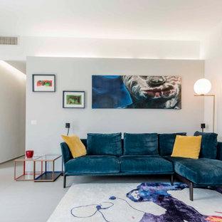 Esempio di un soggiorno contemporaneo con pareti bianche e pavimento grigio