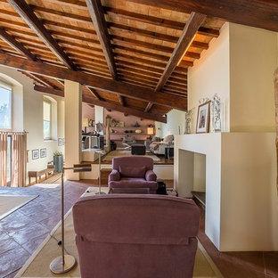 Immagine di un ampio soggiorno country con sala della musica, pareti bianche, pavimento in terracotta, camino classico, cornice del camino in pietra e parete attrezzata