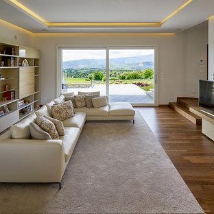 Ispirazione per un soggiorno design chiuso con sala formale, pareti bianche, pavimento in legno massello medio, TV autoportante e pavimento marrone