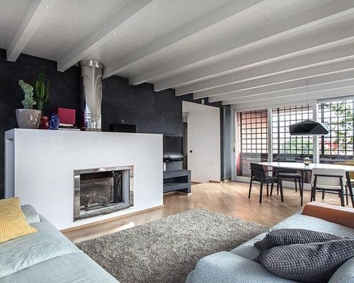 soggiorno aperto con pareti nere foto e idee per arredare