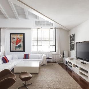 Foto di un soggiorno minimal con pareti bianche, parquet scuro, TV autoportante e pavimento marrone