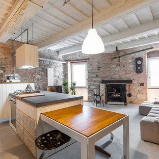 Ejemplo de salón abierto, urbano, grande, con suelo de cemento, chimenea tradicional, marco de chimenea de ladrillo, paredes multicolor y suelo gris