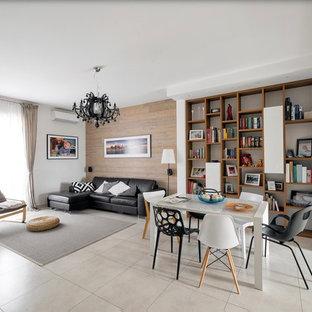 Ispirazione per un soggiorno contemporaneo aperto con pavimento beige