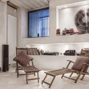Ispirazione per un soggiorno moderno aperto con sala della musica e pareti bianche