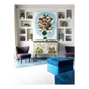 Immagine di un soggiorno boho chic con pavimento con piastrelle in ceramica e pavimento turchese