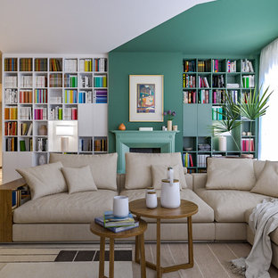 Idées déco pour un grand salon avec une bibliothèque ou un coin lecture contemporain ouvert avec un mur multicolore, un sol en marbre, une cheminée standard, un téléviseur encastré et un sol multicolore.