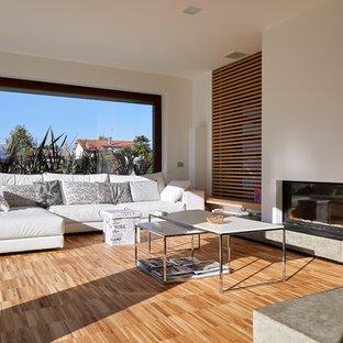 Foto di un soggiorno design di medie dimensioni con pareti bianche, parquet chiaro e pavimento multicolore