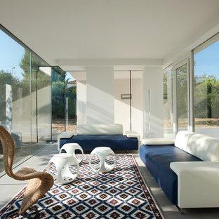 Immagine di un soggiorno moderno di medie dimensioni e chiuso con pavimento grigio