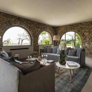 Idee per un soggiorno design di medie dimensioni con pavimento in gres porcellanato