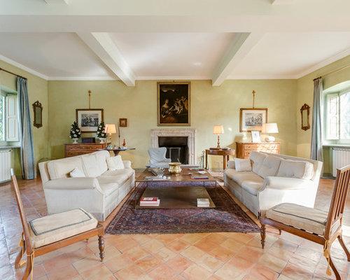 soggiorno in campagna con pareti verdi - foto e idee per arredare - Soggiorno Pareti Verdi 2