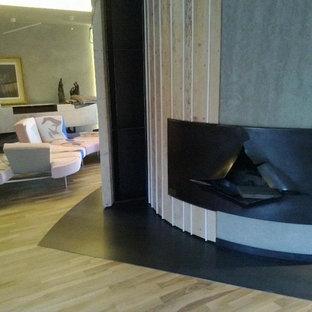 Immagine di un ampio soggiorno minimalista chiuso con camino sospeso e cornice del camino in metallo