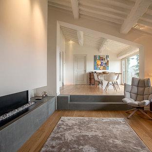 Ispirazione per un grande soggiorno contemporaneo aperto con sala formale, pareti bianche, pavimento in legno massello medio, camino lineare Ribbon e cornice del camino in intonaco