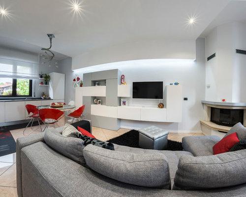 Salotto Moderno Con Camino Ad Angolo. Stunning Mobili Ikea Cucina ...