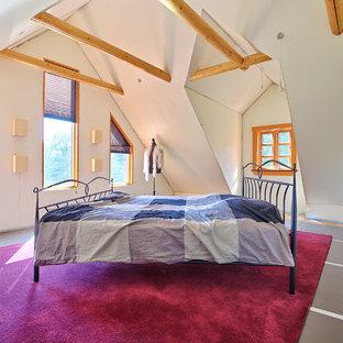 Foto de dormitorio rústico, de tamaño medio, sin chimenea, con paredes blancas y suelo de linóleo