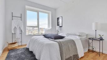 Boligstyling af nyopført lejlighed i Ørestaden. Her ses soveværelse.