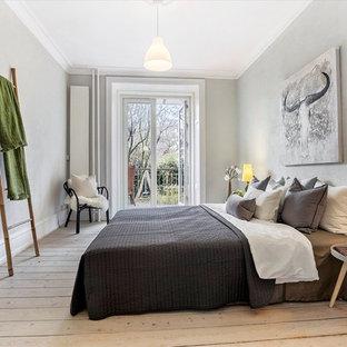 Chambre scandinave avec un mur gris : Photos et idées déco de chambres