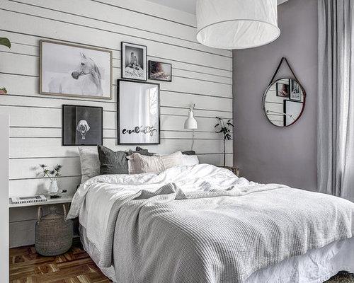 Camera da letto scandinava con pareti viola foto e idee - Idee per arredare camera da letto piccola ...
