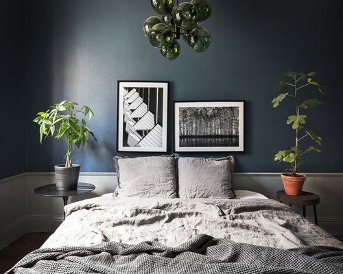 chambre scandinave avec un mur bleu photos et id es d co de chambres. Black Bedroom Furniture Sets. Home Design Ideas