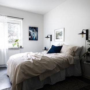 Idéer för mellanstora minimalistiska sovrum, med vita väggar, linoleumgolv och grått golv