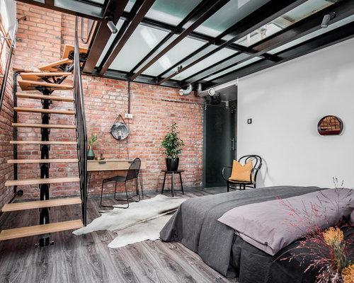 chambre industrielle avec un mur orange photos et id es. Black Bedroom Furniture Sets. Home Design Ideas