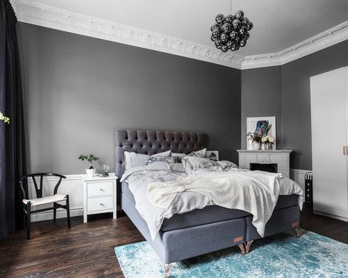 Foton och inredningsidéer för sovrum, med en öppen hörnspis och ...