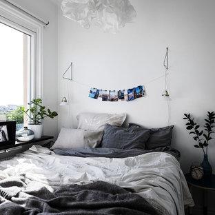 Inspiration för små nordiska sovrum, med vita väggar