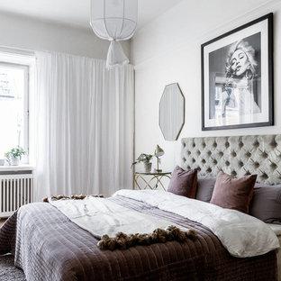 Bild på ett funkis gästrum, med vita väggar