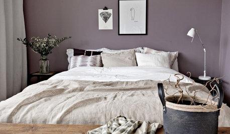 Eine Farbkombi – 6 Styles: Schlafzimmer in Violett, Natur & Weiß