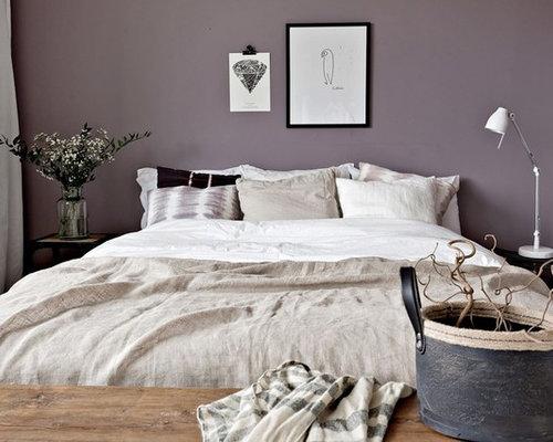 skandinavische schlafzimmer mit lila wandfarbe ideen. Black Bedroom Furniture Sets. Home Design Ideas