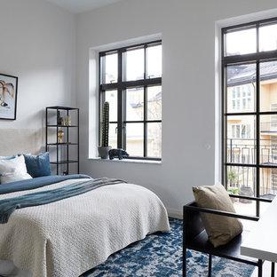 Inspiration för nordiska sovrum, med vita väggar