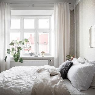 Inspiration för nordiska gästrum, med beige väggar