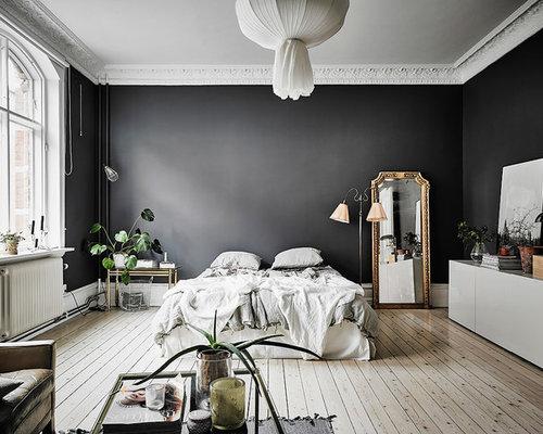Très grande chambre avec un mur noir : Photos et idées déco de ...