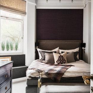 Idéer för att renovera ett mellanstort vintage gästrum, med flerfärgade väggar
