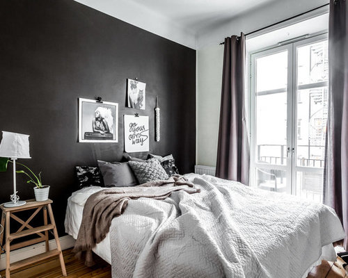 chambre scandinave avec un mur noir photos et id es d co de chambres. Black Bedroom Furniture Sets. Home Design Ideas