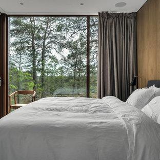 Inspiration för ett litet funkis sovrum, med gröna väggar