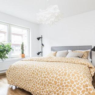 Bild på ett mellanstort funkis sovrum, med vita väggar och laminatgolv