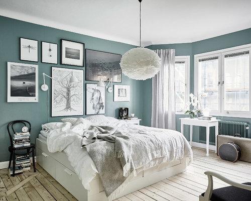 Chambre scandinave avec un mur bleu photos et id es d co for Chambre adulte coloree