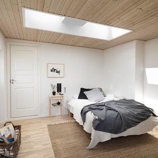 Idéer för att renovera ett mellanstort minimalistiskt huvudsovrum, med vita väggar och ljust trägolv
