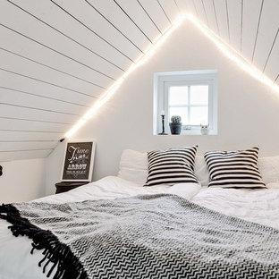 Inspiration för små skandinaviska gästrum, med vita väggar