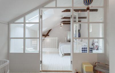 Flera rum utan väggar med trendiga avskiljare i glas