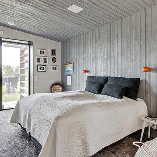 Inspiration för stora minimalistiska huvudsovrum, med grå väggar, heltäckningsmatta och grått golv