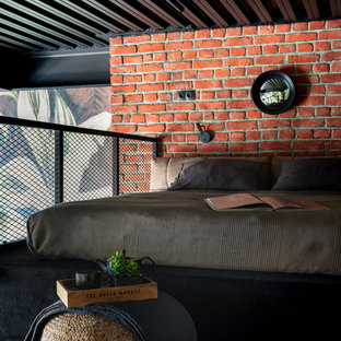 モスクワの小さいインダストリアルスタイルのおしゃれなロフト寝室 (カーペット敷き、黒い床、赤い壁) のインテリア
