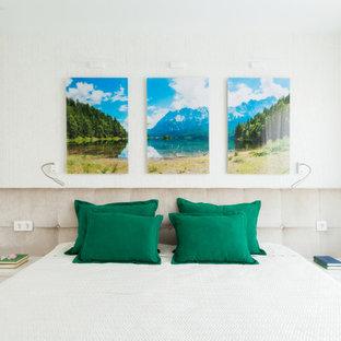 Пример оригинального дизайна: маленькая хозяйская спальня в современном стиле с белыми стенами