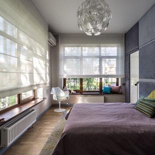 Modelo de dormitorio principal, contemporáneo, con paredes grises y suelo de madera en tonos medios