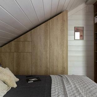 Удачное сочетание для дизайна помещения: спальня среднего размера в скандинавском стиле с белыми стенами - самое интересное для вас