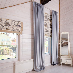 Свежая идея для дизайна: спальня среднего размера в скандинавском стиле с бежевыми стенами и бежевым полом - отличное фото интерьера