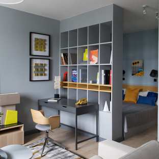 Ejemplo de dormitorio principal, actual, pequeño, con paredes grises y suelo de madera clara