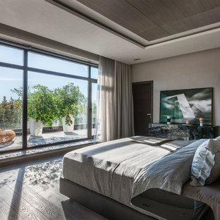 Пример оригинального дизайна: хозяйская спальня в современном стиле с серыми стенами, паркетным полом среднего тона и серым полом